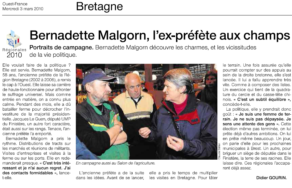 Article du quotidien Ouest-France - 030310