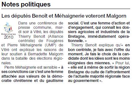 Article extrait du quotidien Ouest-France - 03 mars 2010