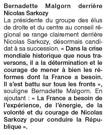 Réaction de Bernadette Malgorn - déclaration de candidature de Nicolas Sarkozy - Ouest-France 17 février 2012
