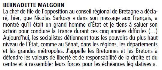 Réaction de Bernadette Malgorn à l'issue du 2nd tour - le Télégramme 7 mai 2012