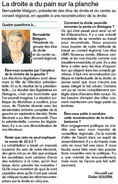 Entretien avec Bernadette Malgorn - Ouest-France