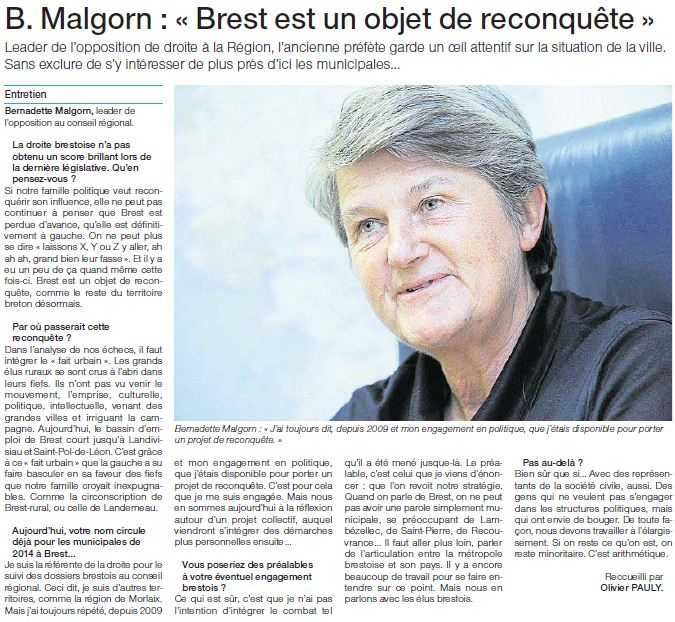 """03 juillet 2012 - Bernadette Malgorn """"Brest est un objet de reconquête"""""""
