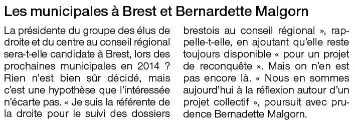 Bernadette Malgorn et les municipales à Brest