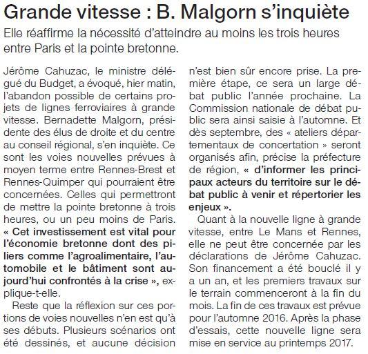 12-07-12 LGV-Réaction de Bernadette Malgorn sur Ouest-France