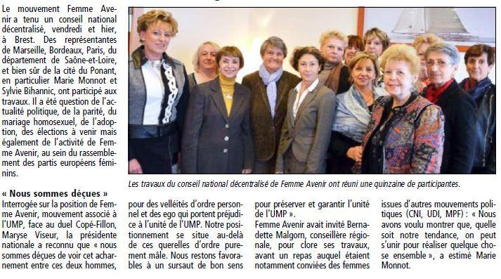 Conseil Femmes Avenir à Brest - Le Telegramme 2.12.12