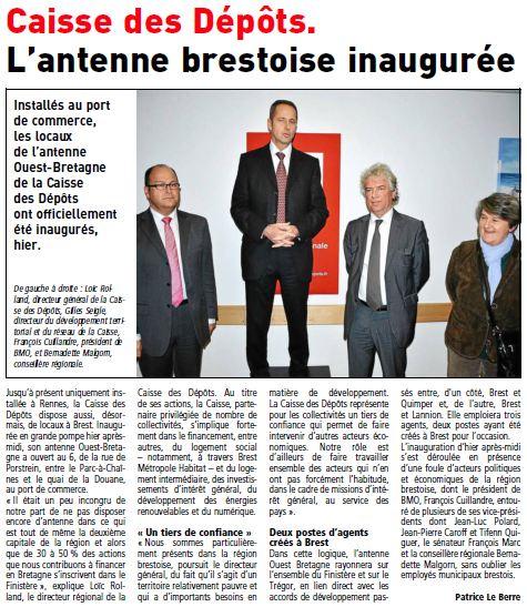 Inauguration Antenne Ouest-Bretagne Caisse des Dépots - Le Telegramme 1.12.12