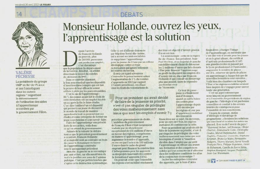 Tribune Apprentissage Le Figaro 26.04.13
