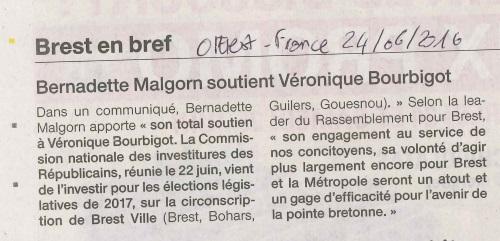 Bernadette Malgorn soutien Véronique Bourbigot