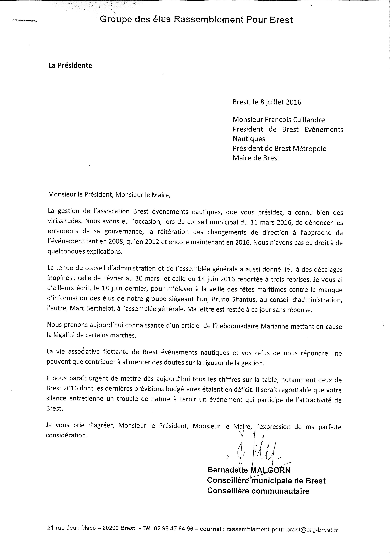 Lettre de Bernadette MAlgorn à François Cuillandre