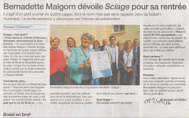 Ouest France 24 septembre 2016