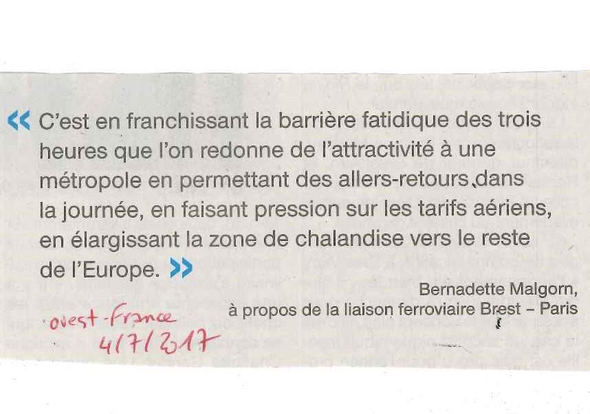 Bernadette Malgorn liaison férrovière Paris Brest